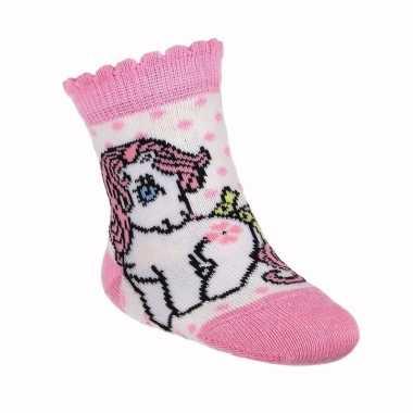 Meisje geboren kado my little pony sokjes wit