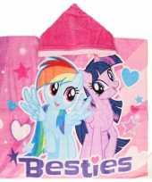 My little pony badcape poncho roze capuchon kinderen
